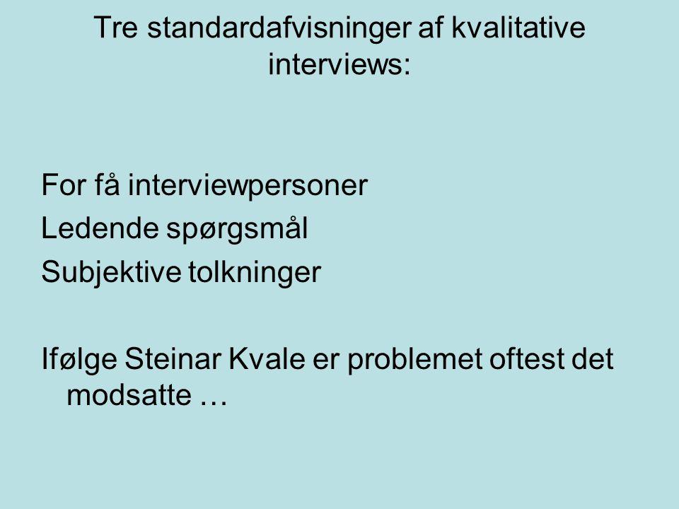 Tre standardafvisninger af kvalitative interviews: