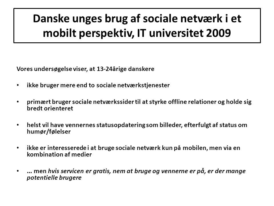 Danske unges brug af sociale netværk i et mobilt perspektiv, IT universitet 2009
