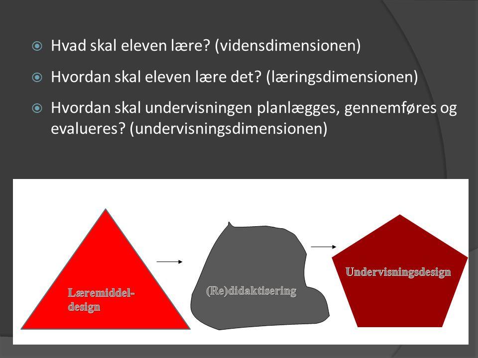 Hvad skal eleven lære (vidensdimensionen)