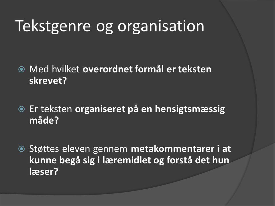 Tekstgenre og organisation