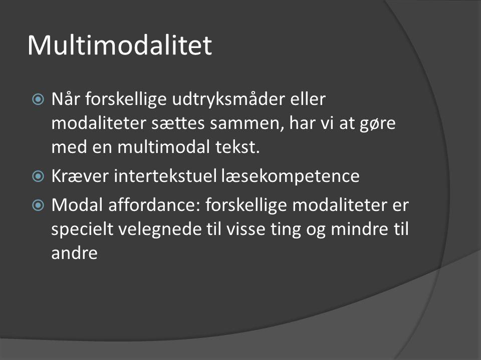 Multimodalitet Når forskellige udtryksmåder eller modaliteter sættes sammen, har vi at gøre med en multimodal tekst.