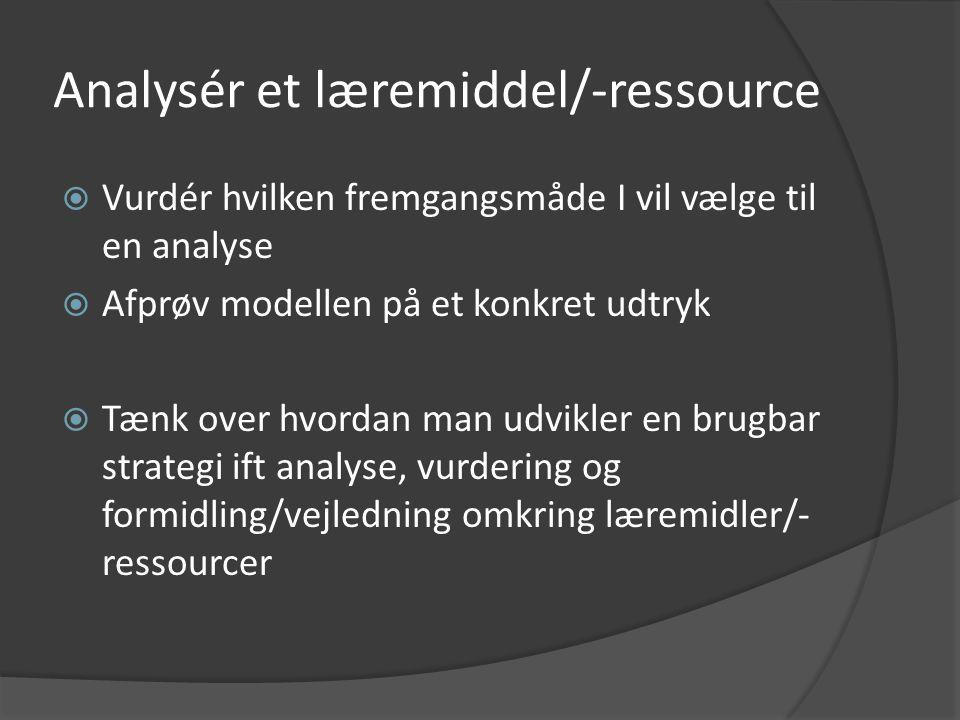 Analysér et læremiddel/-ressource