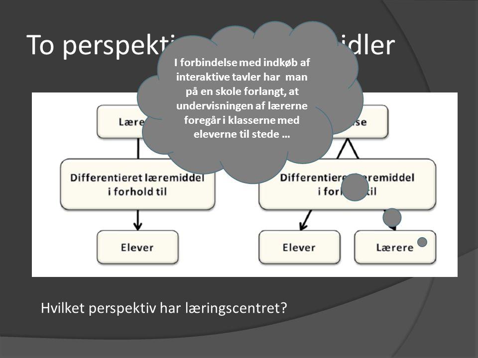 To perspektiver på læremidler