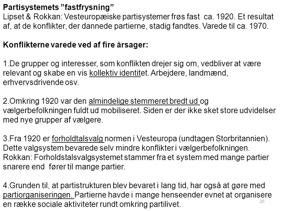 Partisystemets fastfrysning