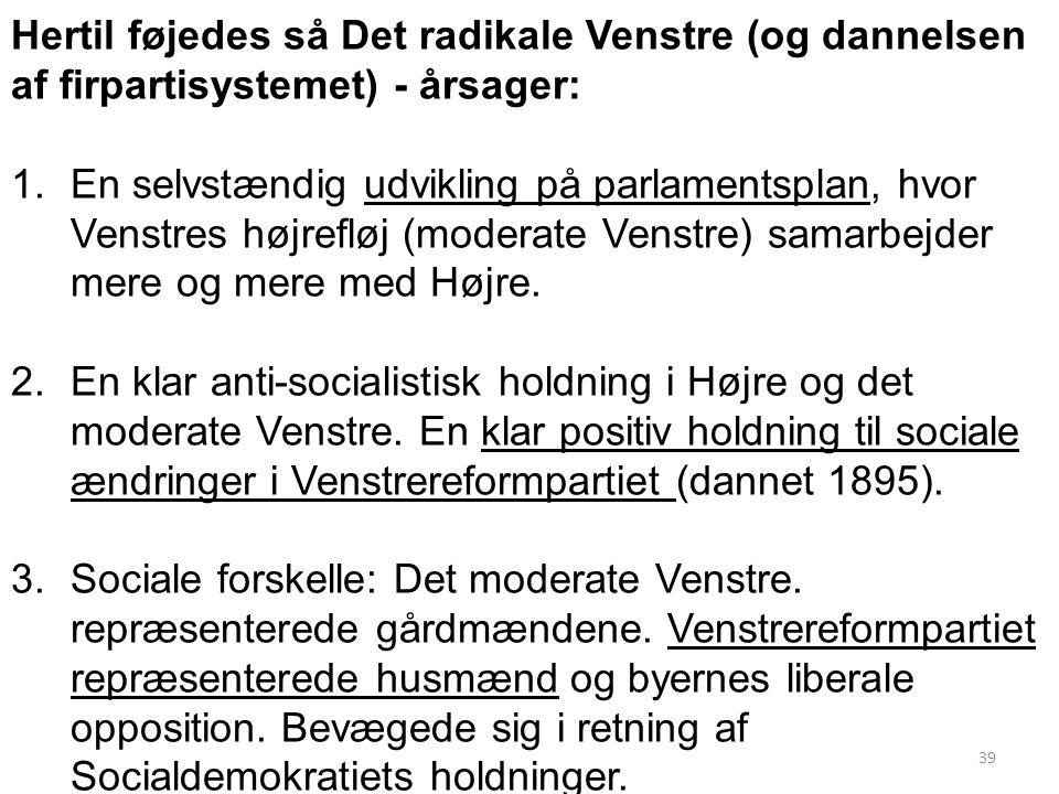 Hertil føjedes så Det radikale Venstre (og dannelsen af firpartisystemet) - årsager: