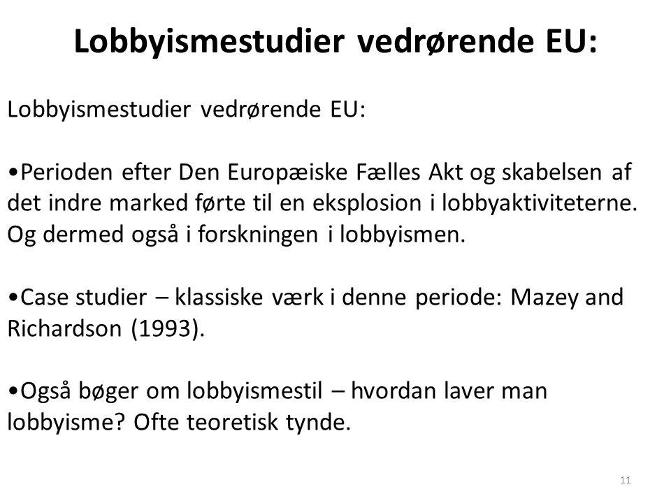 Lobbyismestudier vedrørende EU: