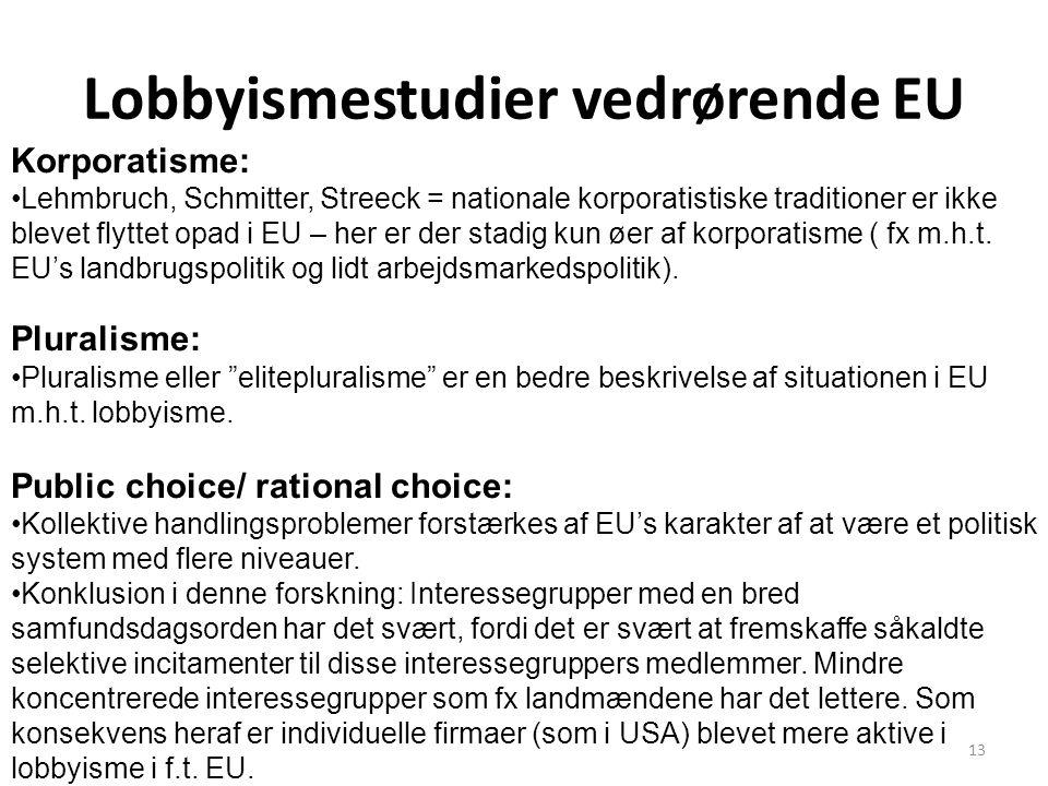 Lobbyismestudier vedrørende EU