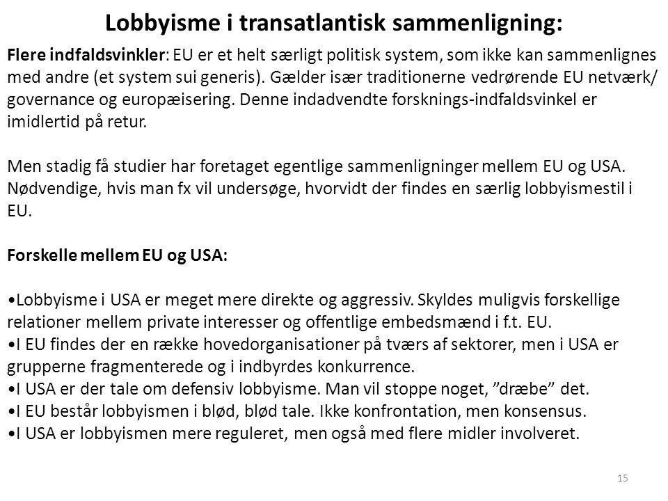 Lobbyisme i transatlantisk sammenligning: