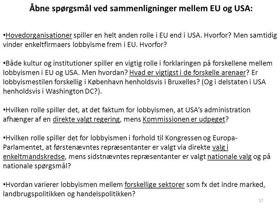 Åbne spørgsmål ved sammenligninger mellem EU og USA: