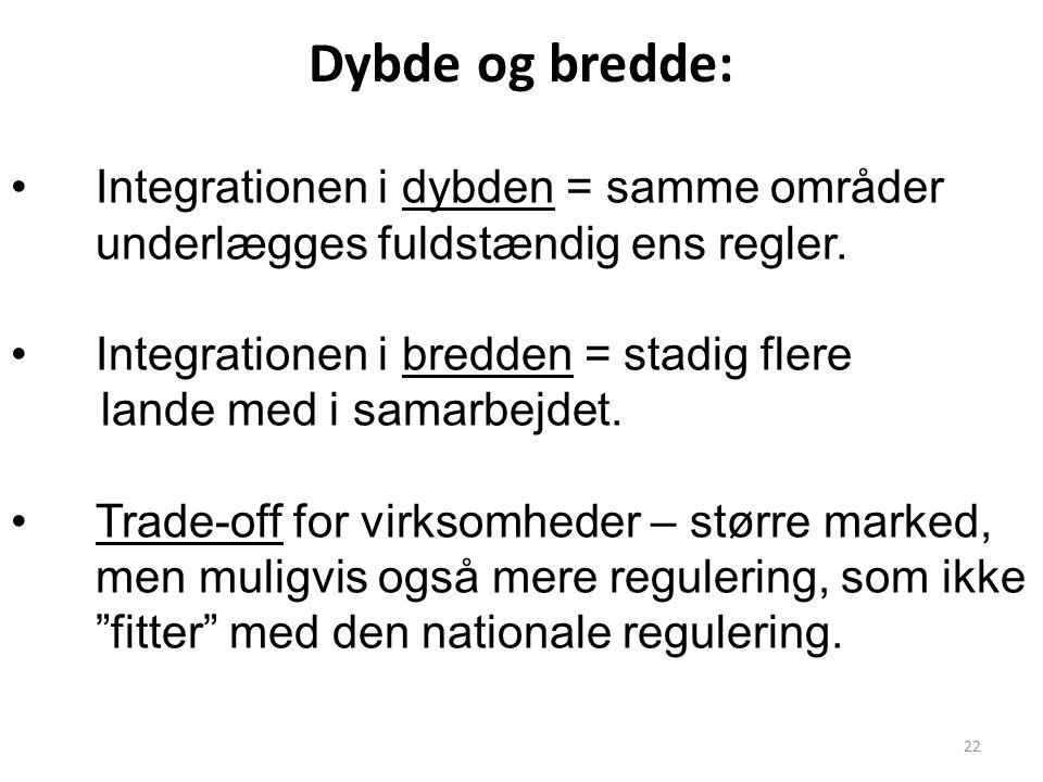 Dybde og bredde: Integrationen i dybden = samme områder underlægges fuldstændig ens regler. Integrationen i bredden = stadig flere.