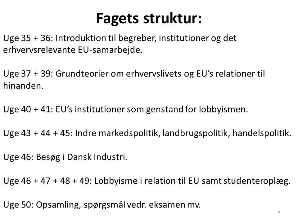 Fagets struktur: Uge 35 + 36: Introduktion til begreber, institutioner og det erhvervsrelevante EU-samarbejde.