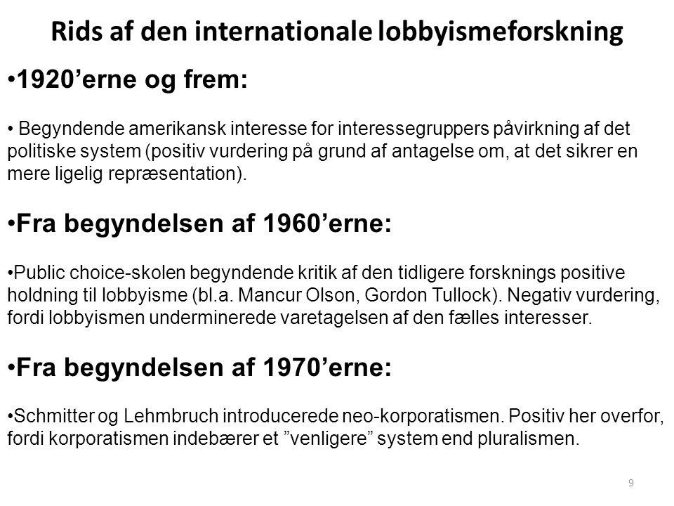 Rids af den internationale lobbyismeforskning