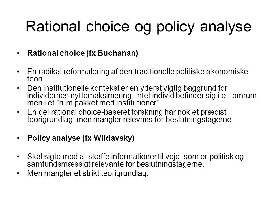 Rational choice og policy analyse