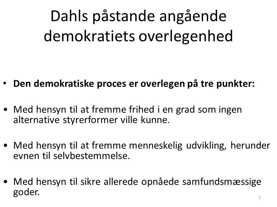 Dahls påstande angående demokratiets overlegenhed