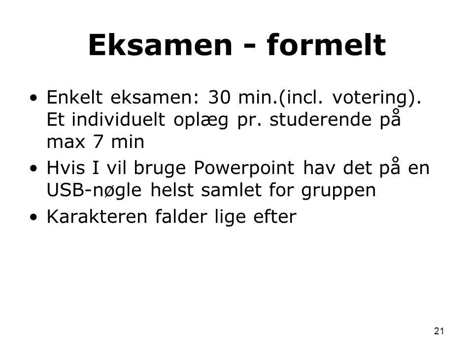 Eksamen - formelt Enkelt eksamen: 30 min.(incl. votering). Et individuelt oplæg pr. studerende på max 7 min.