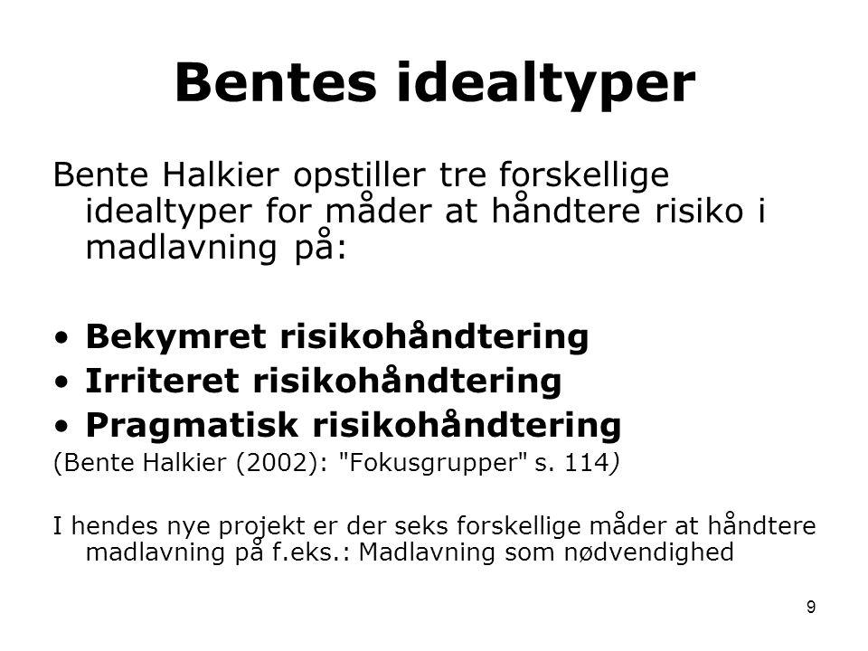 Bentes idealtyper Bente Halkier opstiller tre forskellige idealtyper for måder at håndtere risiko i madlavning på: