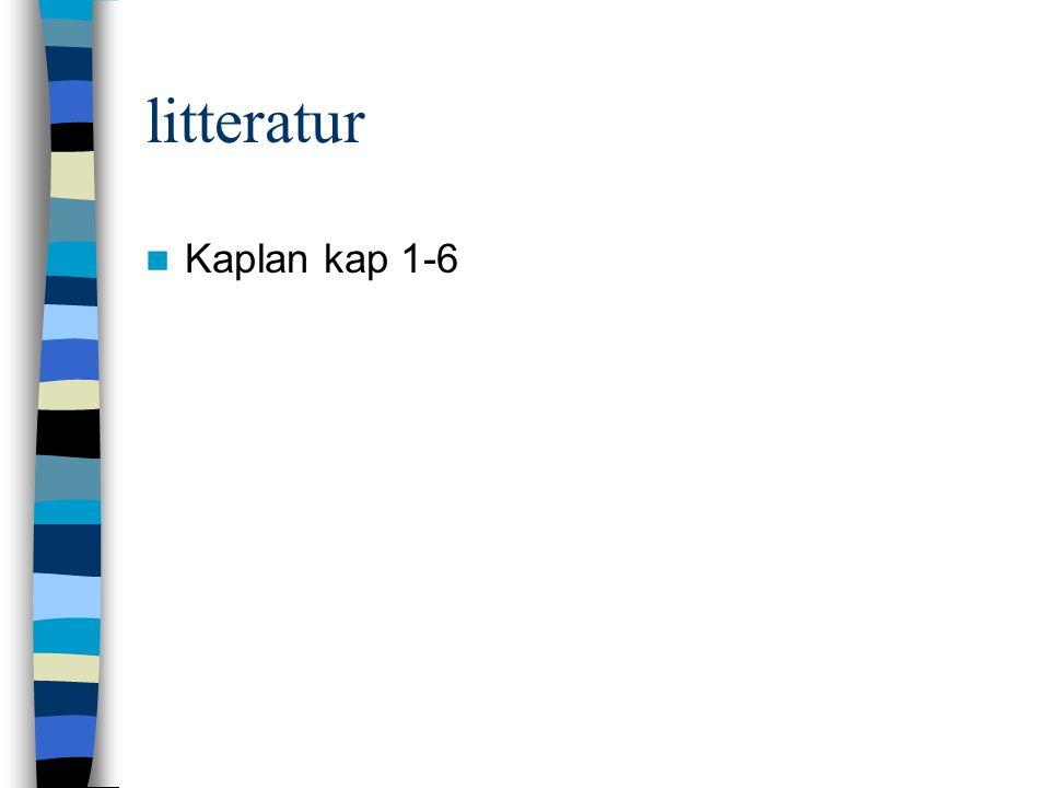litteratur Kaplan kap 1-6