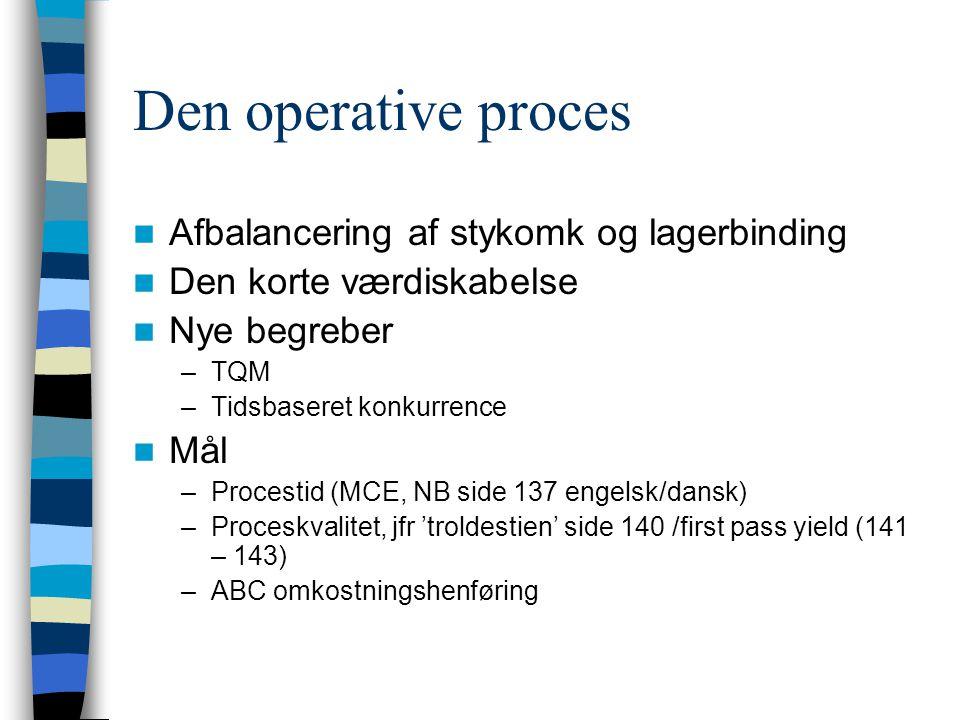 Den operative proces Afbalancering af stykomk og lagerbinding