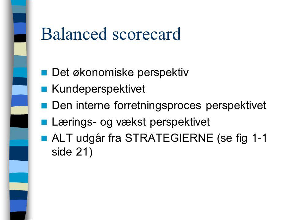Balanced scorecard Det økonomiske perspektiv Kundeperspektivet