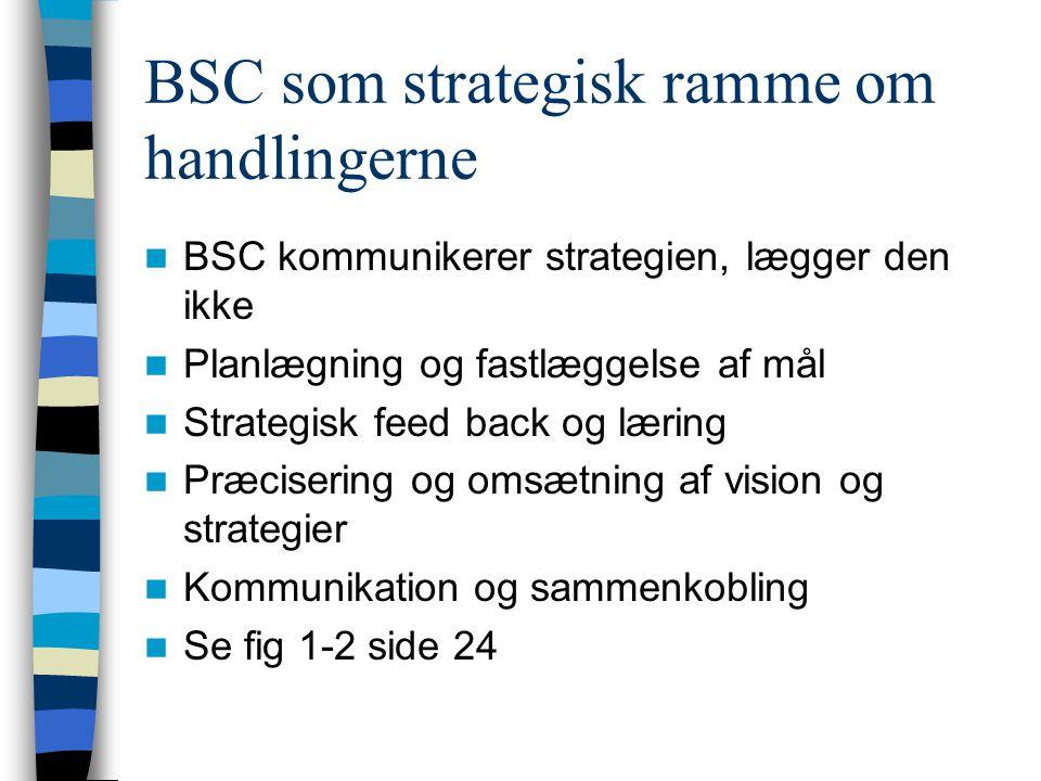 BSC som strategisk ramme om handlingerne