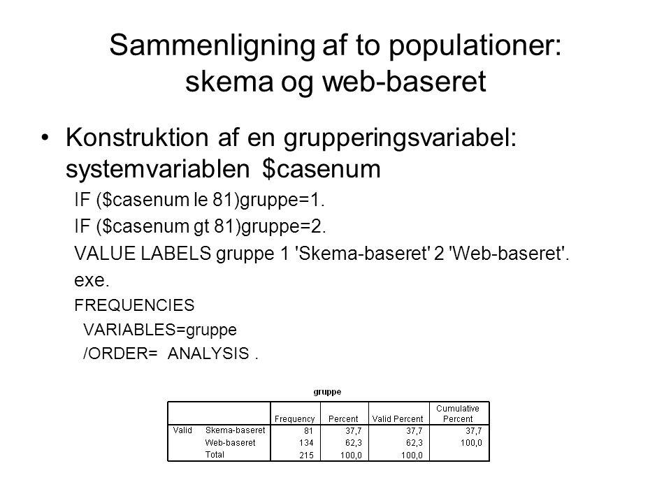 Sammenligning af to populationer: skema og web-baseret