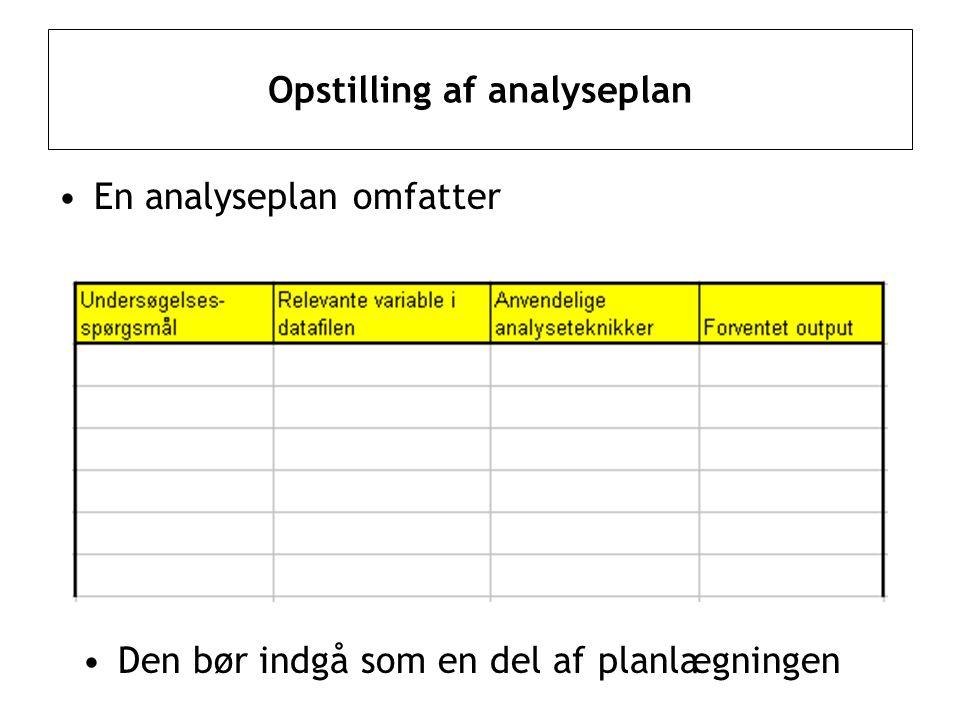 Opstilling af analyseplan