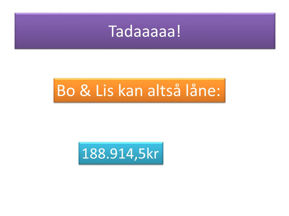 Tadaaaaa! Bo & Lis kan altså låne: 188.914,5kr