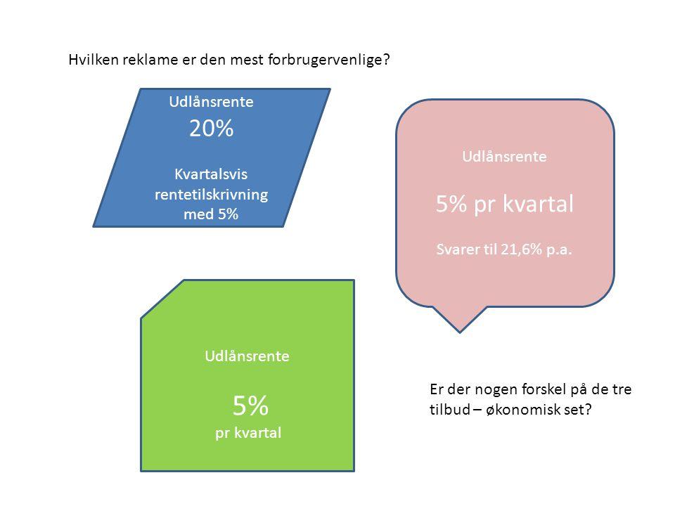 Kvartalsvis rentetilskrivning med 5%