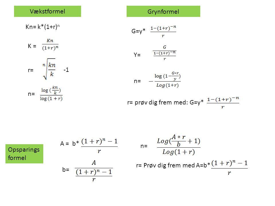 Vækstformel Grynformel. Kn= k*(1+r)n. G=y* K = Y= r= -1. n= n= r= prøv dig frem med: G=y* A = b*
