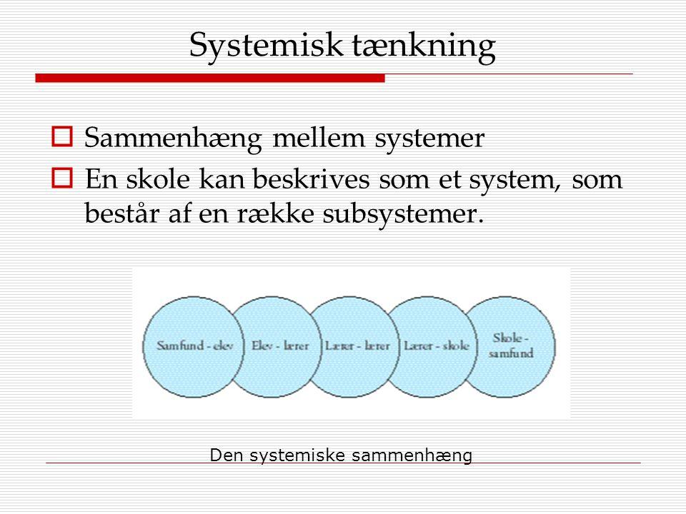 Systemisk tænkning Sammenhæng mellem systemer