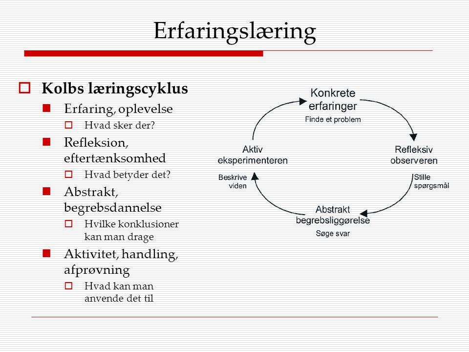Erfaringslæring Kolbs læringscyklus Erfaring, oplevelse