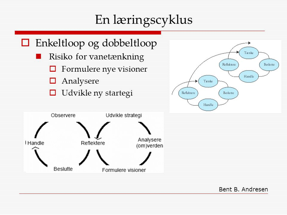 En læringscyklus Enkeltloop og dobbeltloop Risiko for vanetænkning
