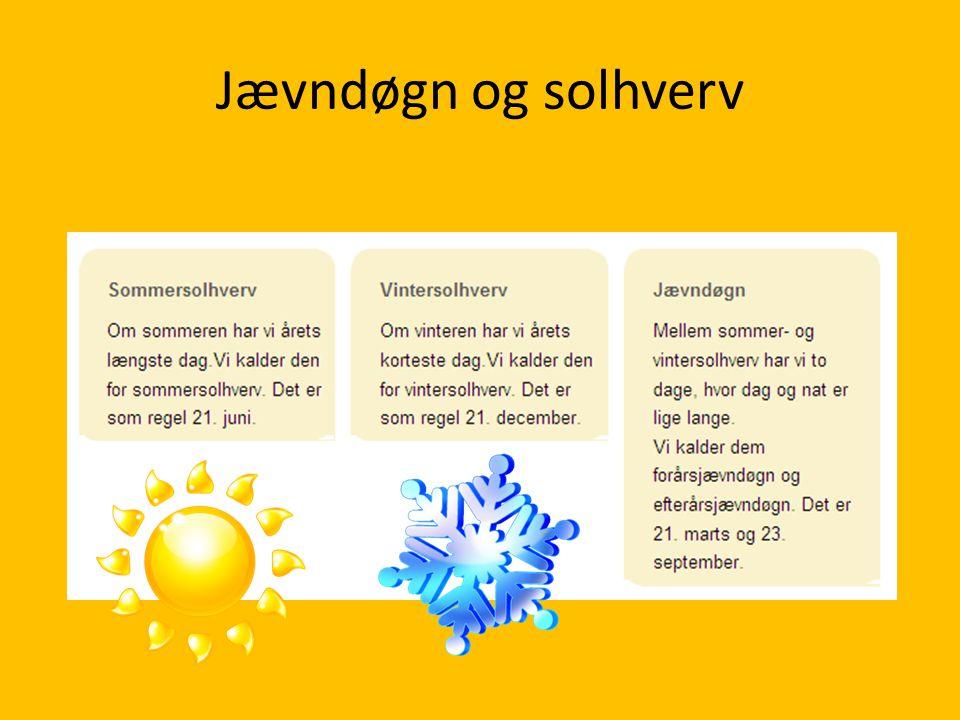 Jævndøgn og solhverv