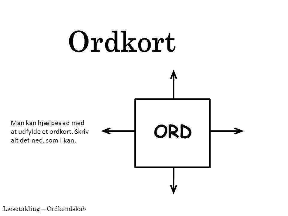 Ordkort ORD Man kan hjælpes ad med at udfylde et ordkort. Skriv