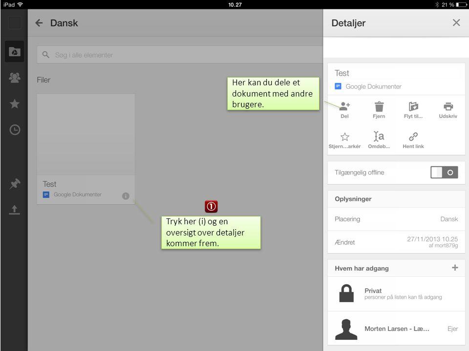 Her kan du dele et dokument med andre brugere.
