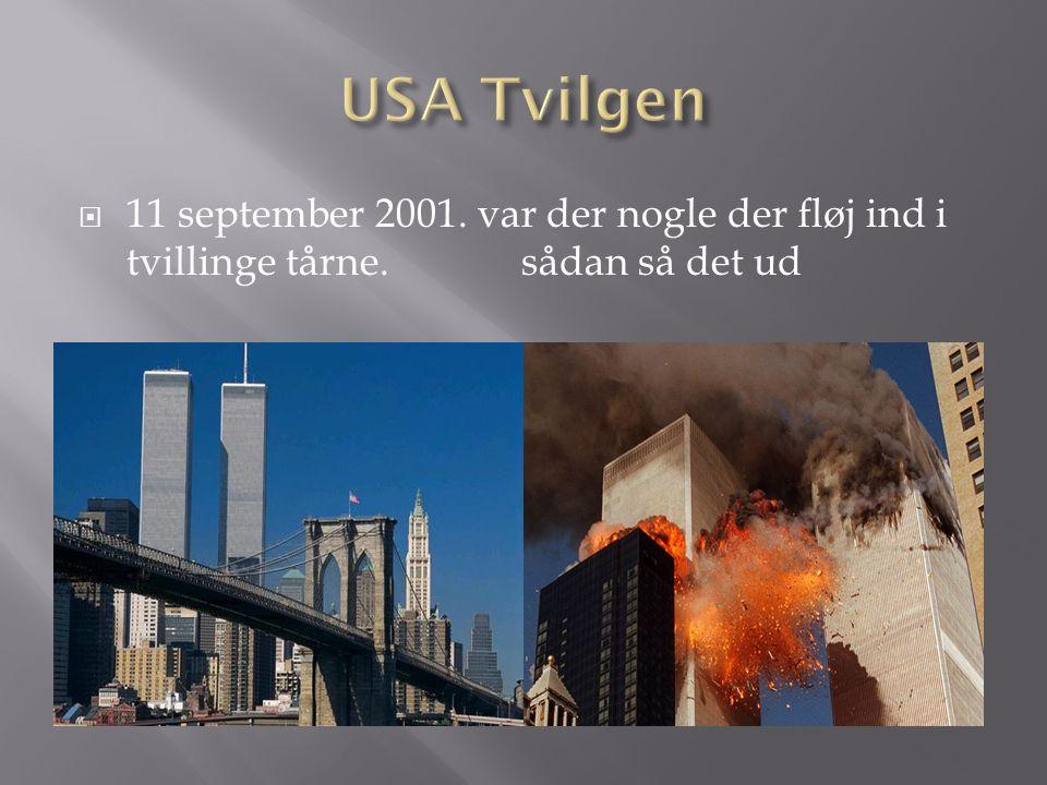 USA Tvilgen 11 september 2001. var der nogle der fløj ind i tvillinge tårne.