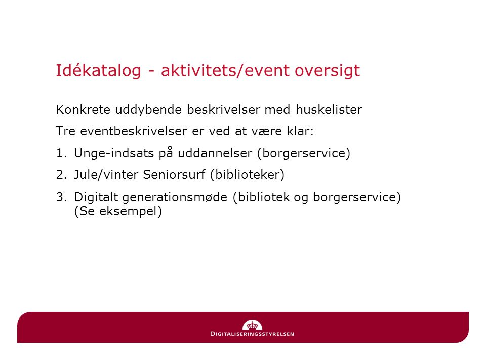 Idékatalog - aktivitets/event oversigt