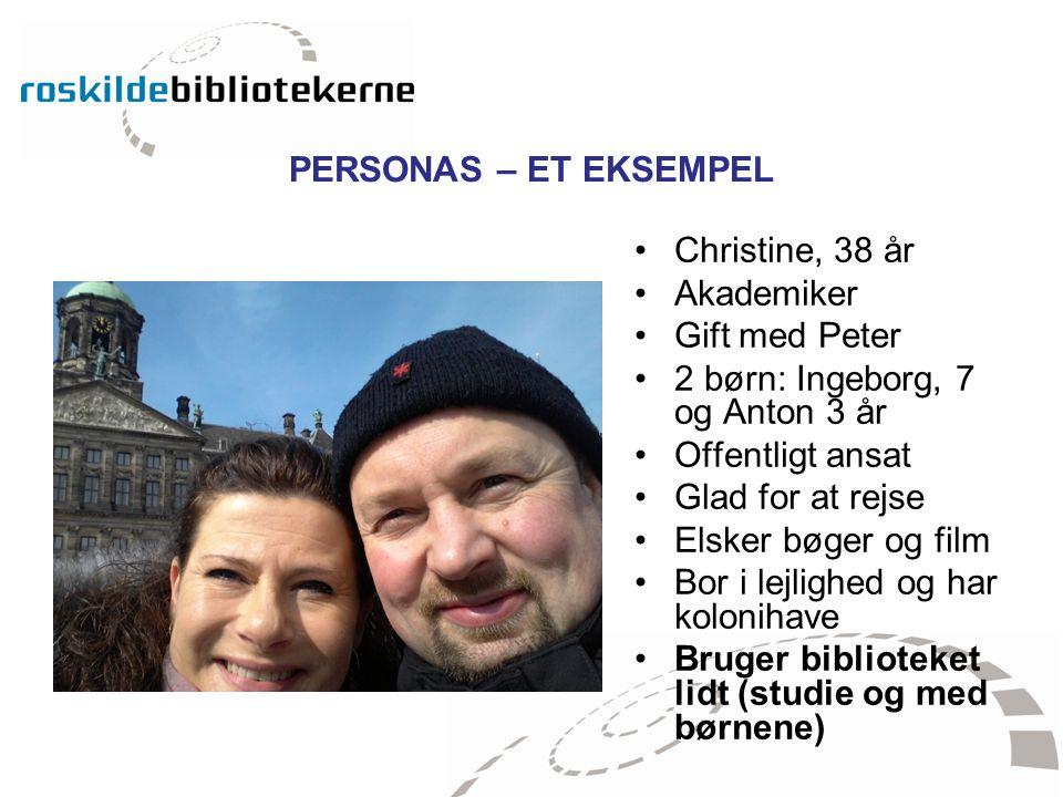 PERSONAS – ET EKSEMPEL Christine, 38 år. Akademiker. Gift med Peter. 2 børn: Ingeborg, 7 og Anton 3 år.