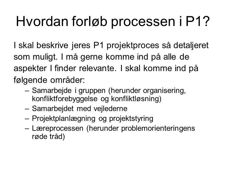 Hvordan forløb processen i P1