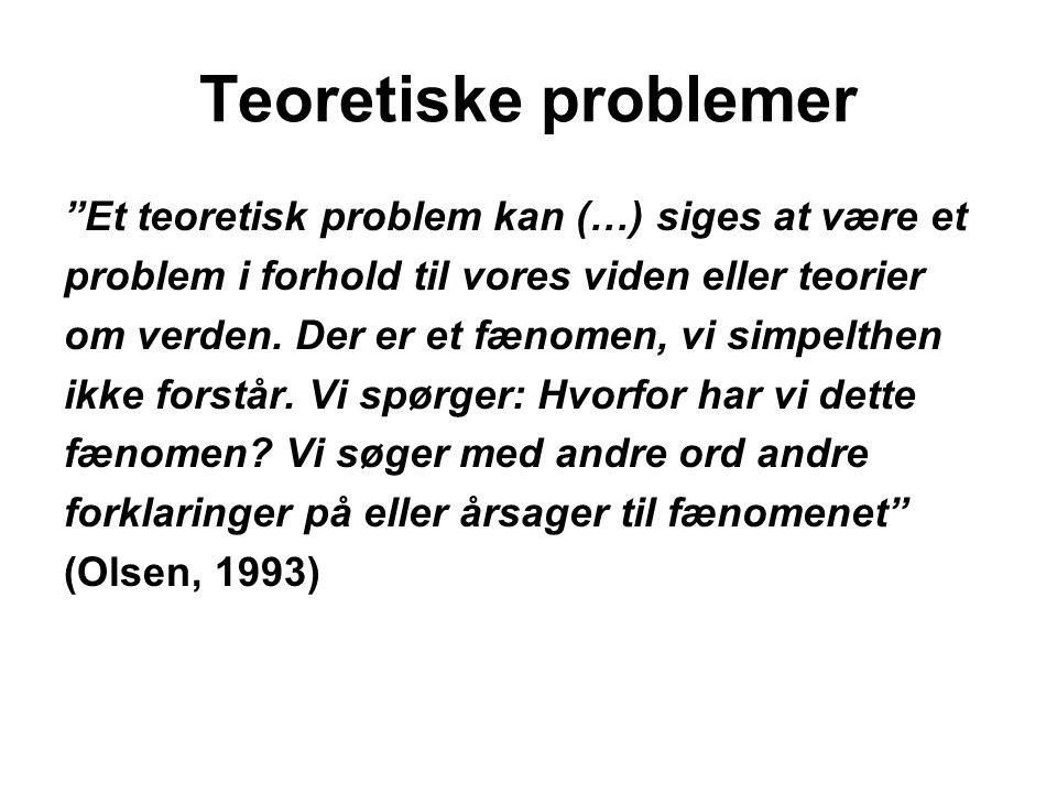 Teoretiske problemer Et teoretisk problem kan (…) siges at være et