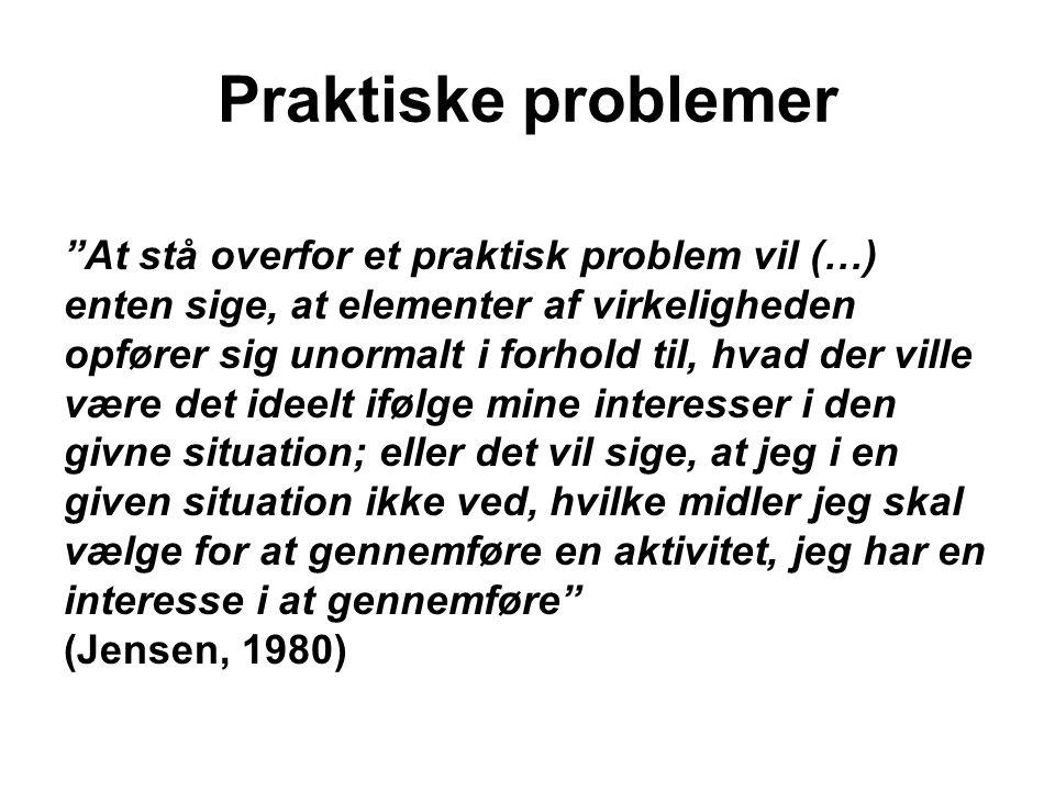 Praktiske problemer At stå overfor et praktisk problem vil (…)