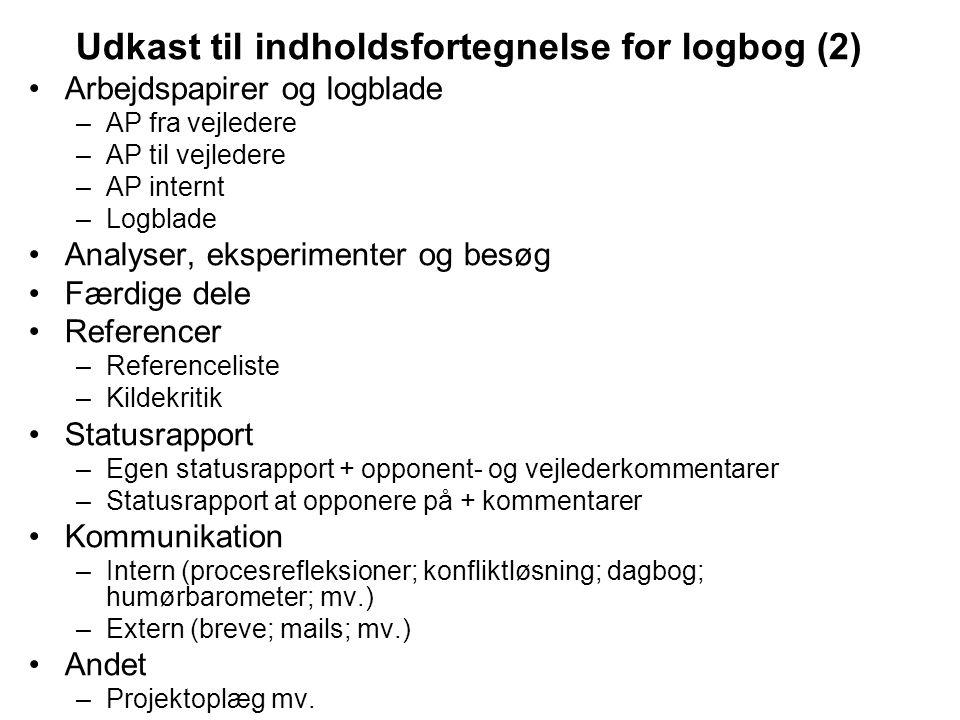 Udkast til indholdsfortegnelse for logbog (2)