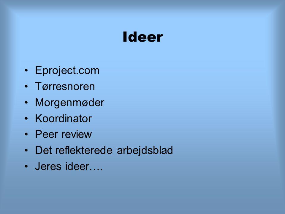 Ideer Eproject.com Tørresnoren Morgenmøder Koordinator Peer review