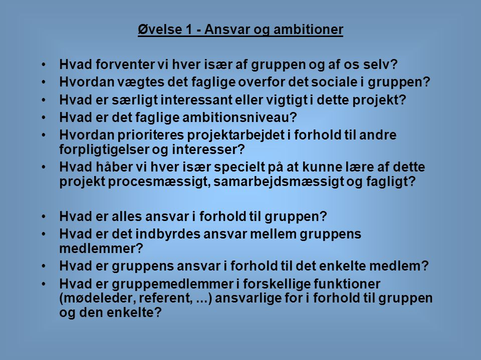 Øvelse 1 - Ansvar og ambitioner