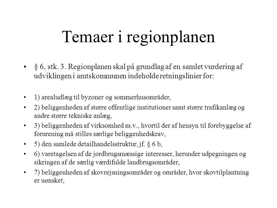 Temaer i regionplanen § 6, stk. 3. Regionplanen skal på grundlag af en samlet vurdering af udviklingen i amtskommunen indeholde retningslinier for: