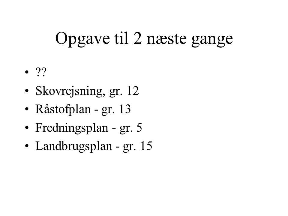 Opgave til 2 næste gange Skovrejsning, gr. 12 Råstofplan - gr. 13