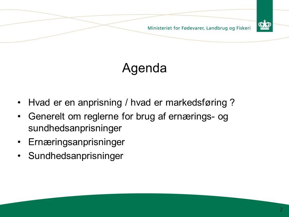 Agenda Hvad er en anprisning / hvad er markedsføring