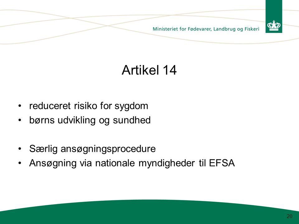 Artikel 14 reduceret risiko for sygdom børns udvikling og sundhed