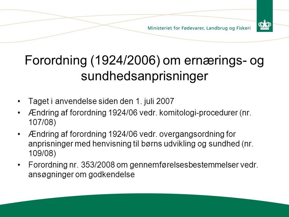 Forordning (1924/2006) om ernærings- og sundhedsanprisninger