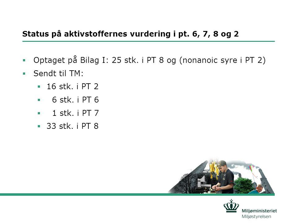Status på aktivstoffernes vurdering i pt. 6, 7, 8 og 2